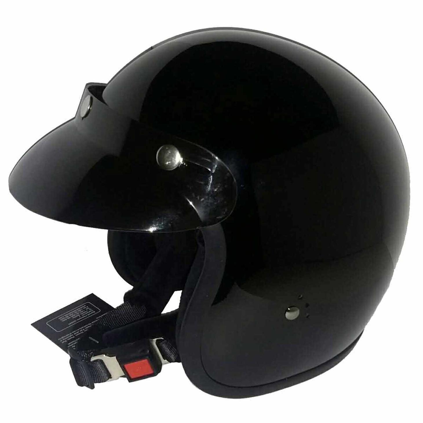 Bandit Jet Helmet - Glossy Black Motorcycle Open Face Helmet – Picture 2