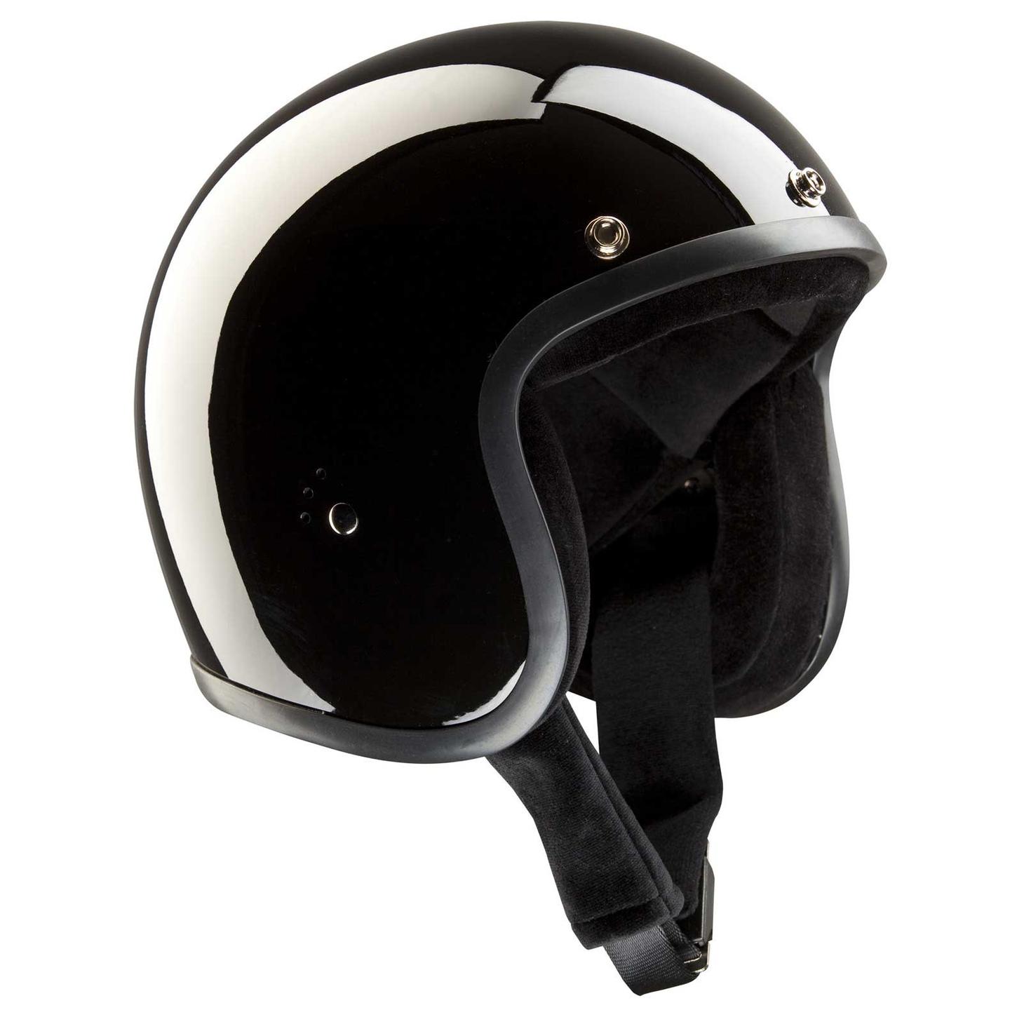 Bandit Jet Helmet - Glossy Black Motorcycle Open Face Helmet – Picture 3