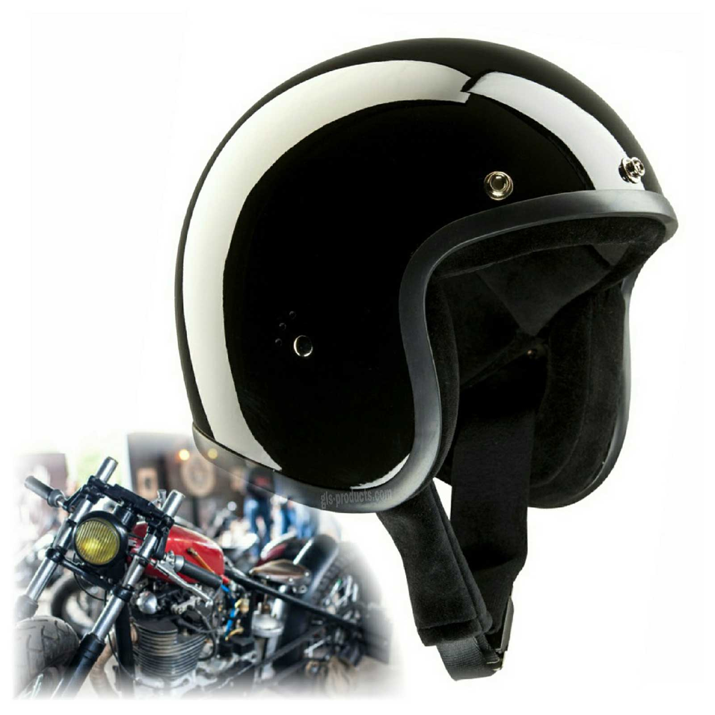 Bandit Jet Helmet - Glossy Black Motorcycle Open Face Helmet