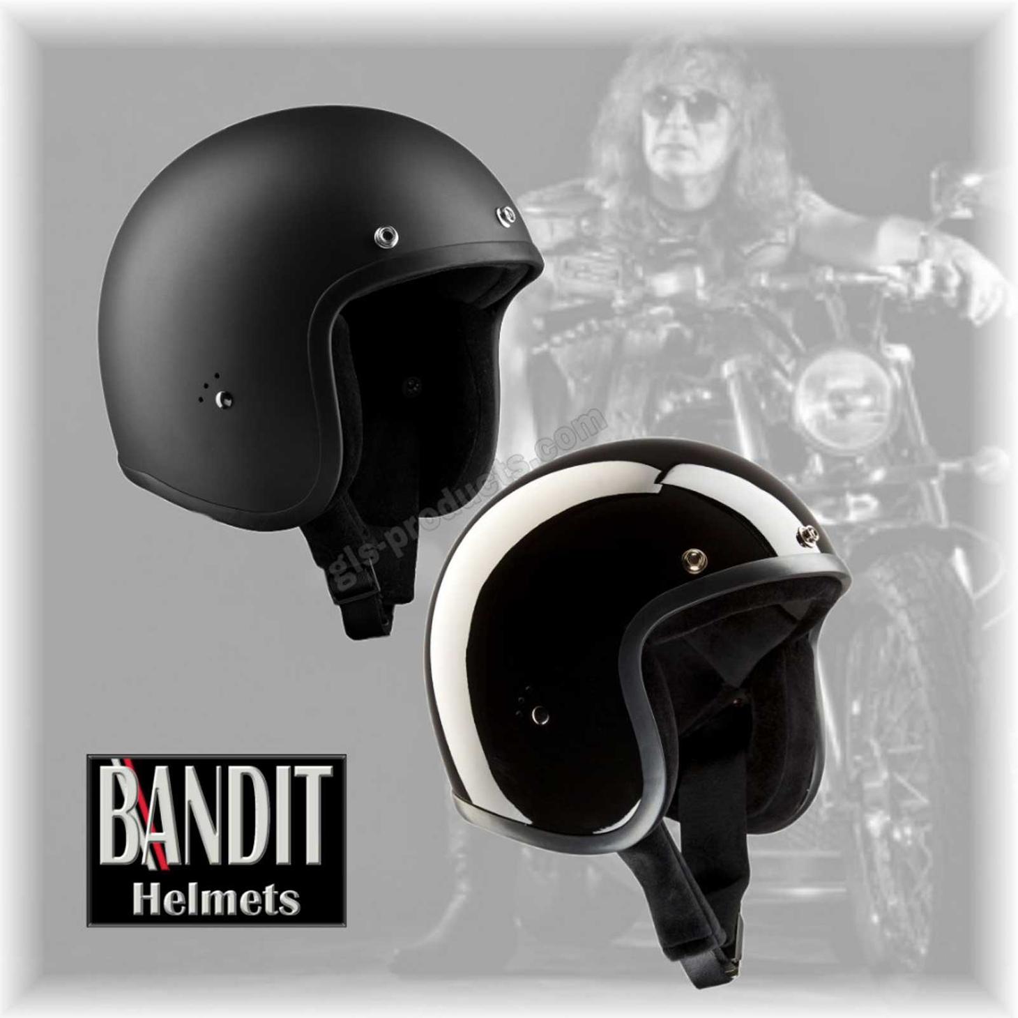Bandit Jet Helmet - Glossy Black Motorcycle Open Face Helmet – Picture 9
