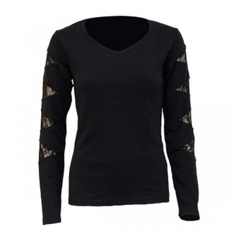 Gothic Rock Lace Patch Cutout V-Neck Longsleeve – Picture 1