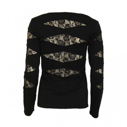 Gothic Rock Lace Patch Cutout V-Neck Longsleeve P002F448 – Bild 2