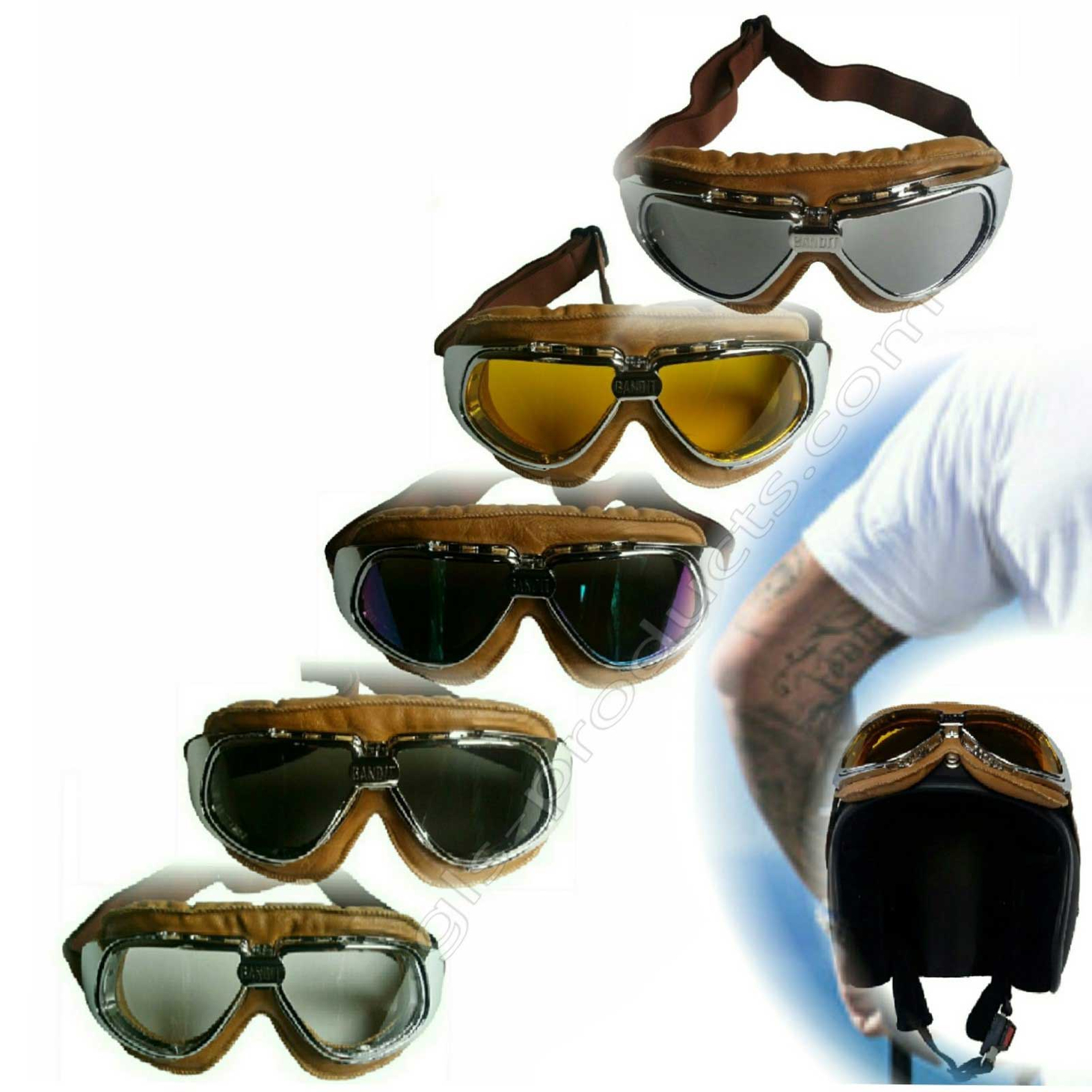 Bandit Motorcycle Glasses Goggles brown – Picture 1