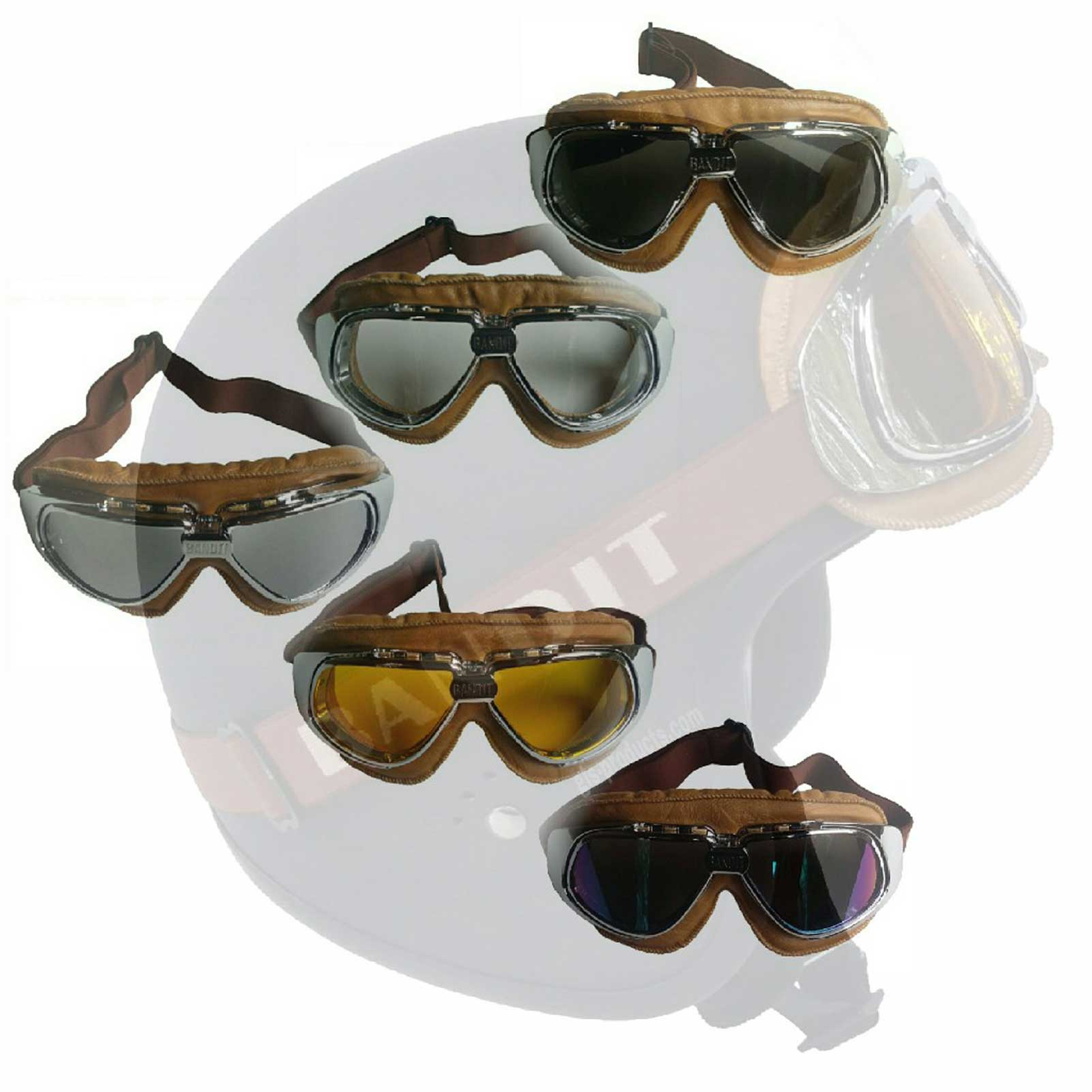 Bandit Motorcycle Glasses Goggles brown – Picture 8