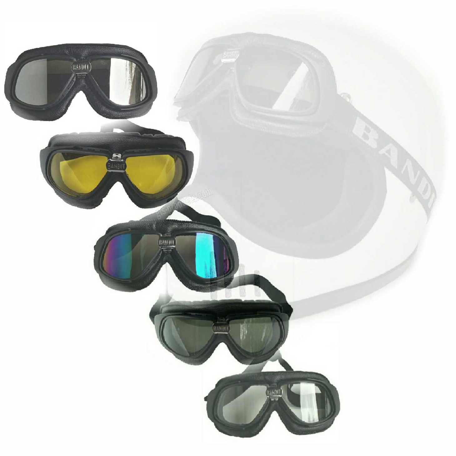 Bandit Motorcycle Glasses Goggles black – Picture 1