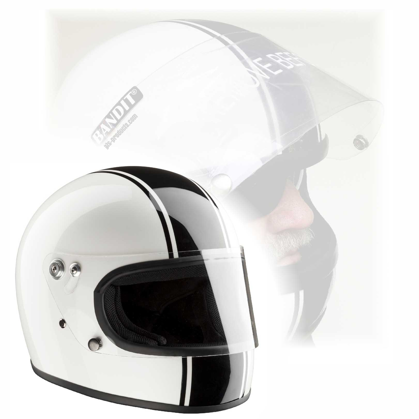 Bandit Integral ECE 22-05 homologated Retro Motorcycle Helmet – Picture 1