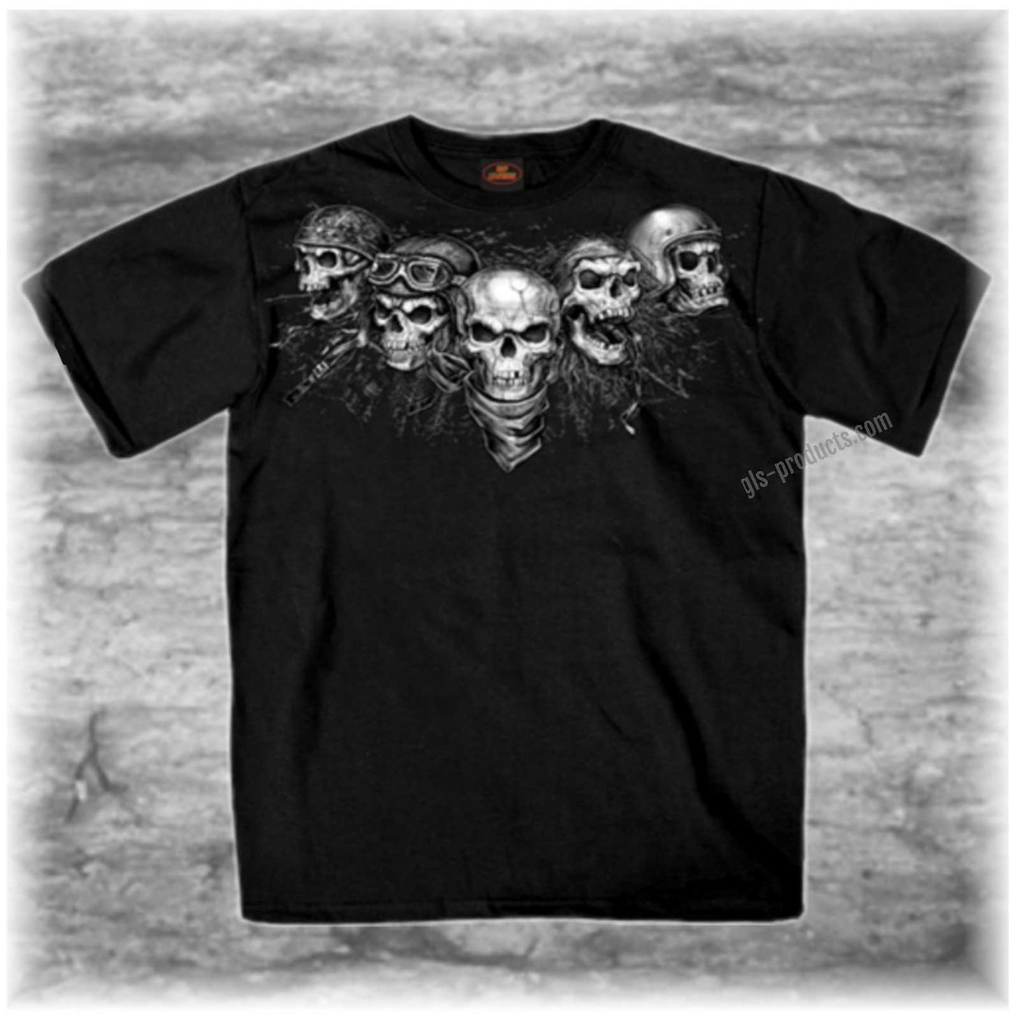 Five Skulls Cotton T-Shirt GMS1423 Biker-Shirt – Picture 1