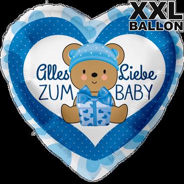 Folienballon XXL - Ø 71cm - Herz - Alles Liebe zum Baby Blau