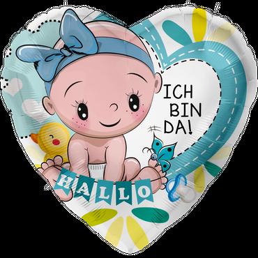 Folienballon - Ø 45cm - Herz - Ich bin da Baby Blau