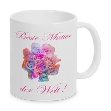 Beste Mutter der Welt (Blumen) - Tasse - Kaffeebecher - Geschenk