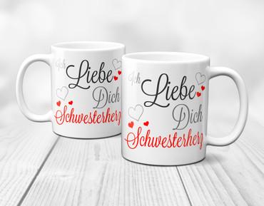 Ich liebe Dich Schwesterherz - Tasse – Bild 3