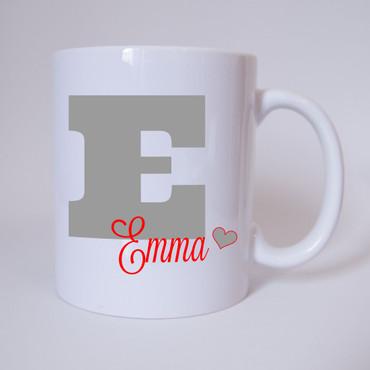 Individuelle Namenstasse Buchstabe E (Grau/Rot)