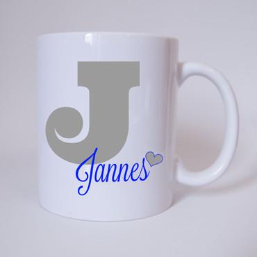 Individuelle Namenstasse Buchstabe J (Grau/Blau)