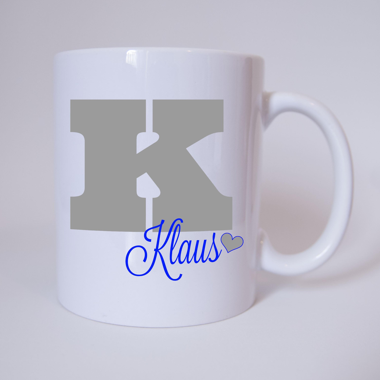 Individuelle Namenstasse Buchstabe K (Grau/Blau ...