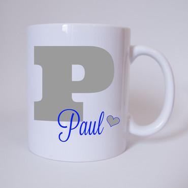 Individuelle Namenstasse Buchstabe P (Grau/Blau)