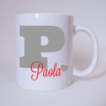 Individuelle Namenstasse Buchstabe P (Grau/Rot) 001