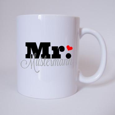 """Mr. """"Individueller Name"""" - Tasse - Kaffeetasse - Partnertasse"""