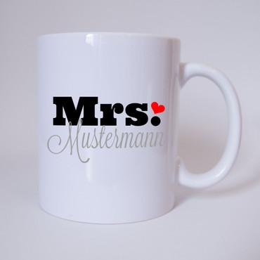 "Mrs. ""Individueller Name"" - Tasse - Kaffeetasse - Partnertasse"