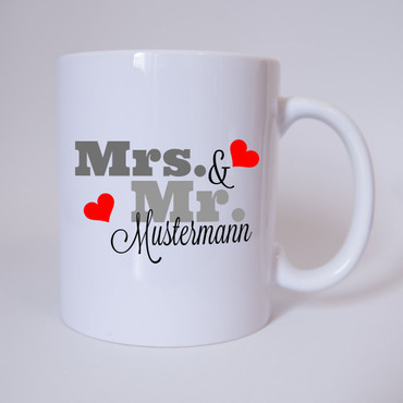 Mr. & Mrs. mit individuellen Namen - Tasse