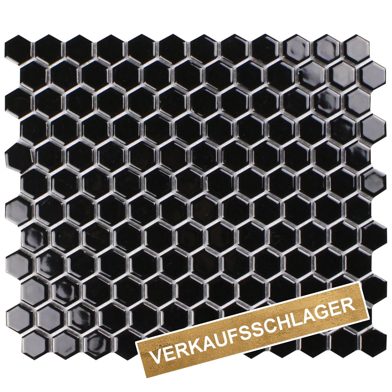 musterprobe mosaik sechseck schwarz gl nzend musterfliesen. Black Bedroom Furniture Sets. Home Design Ideas