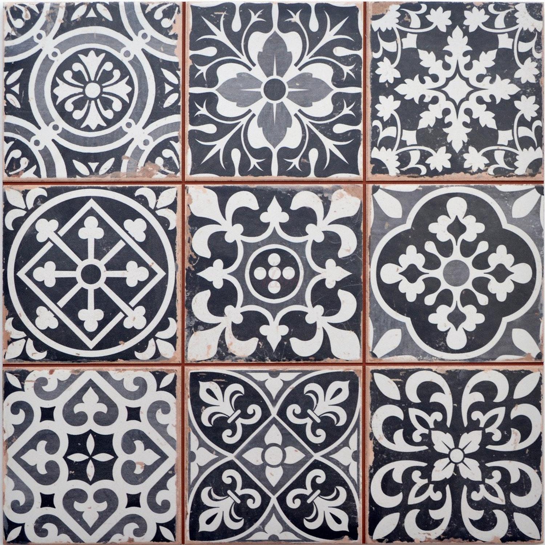 Fliese schwarz weiß Retro Wandfliese 33x33cm Bodenfliese Steinzeug FS Faenza– Bild 2