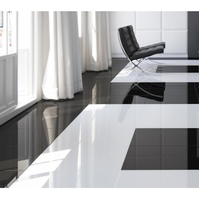 Bodenfliese weiß glänzend 45,6 x 45,6 cm Piano weiss glanz – Bild 5