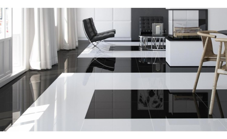 Bodenfliese weiß glänzend 45,6 x 45,6 cm Piano weiss glanz – Bild 4