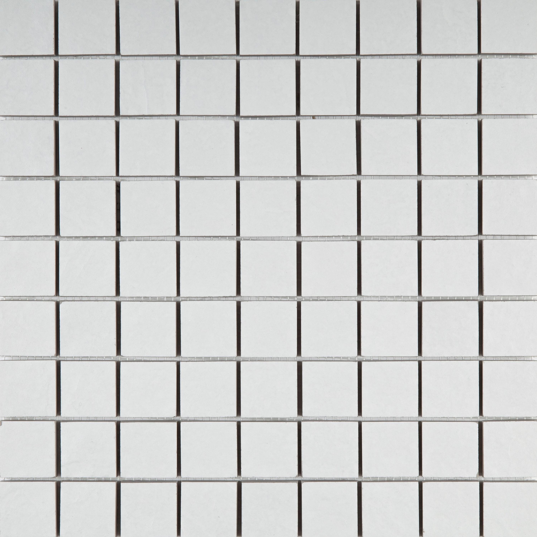 Mosaik Weiß Feinsteinzeug Mosaikfliesen Boden Concreta Gesso 29,8x29,8 cm – Bild 1