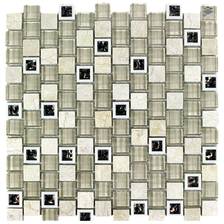 Mosaik Retro Kunststoff Glas Naturstein Mosaik 2,3x2,3 HLM006 – Bild 1