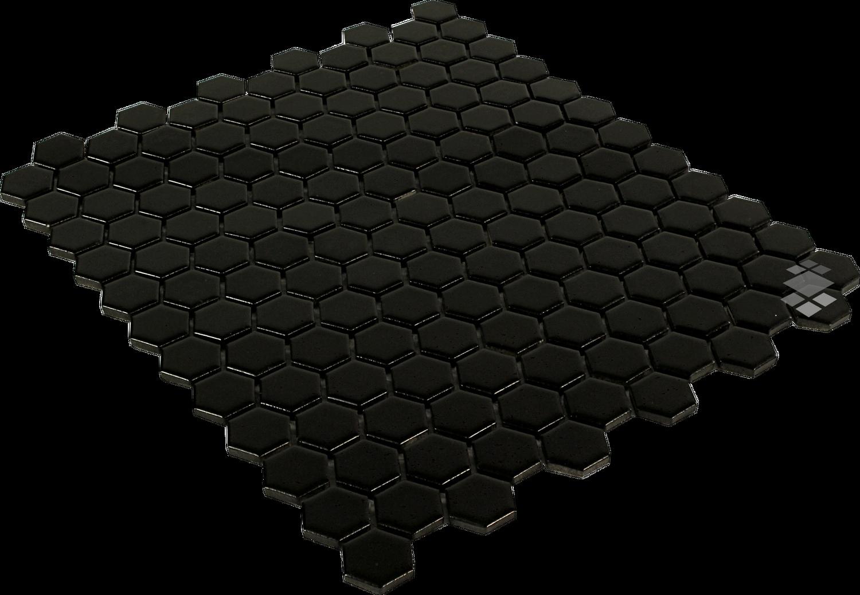 Mosaik Sechseck schwarz matt Mosaikfliese Wand 26 x 30 cm – Bild 2
