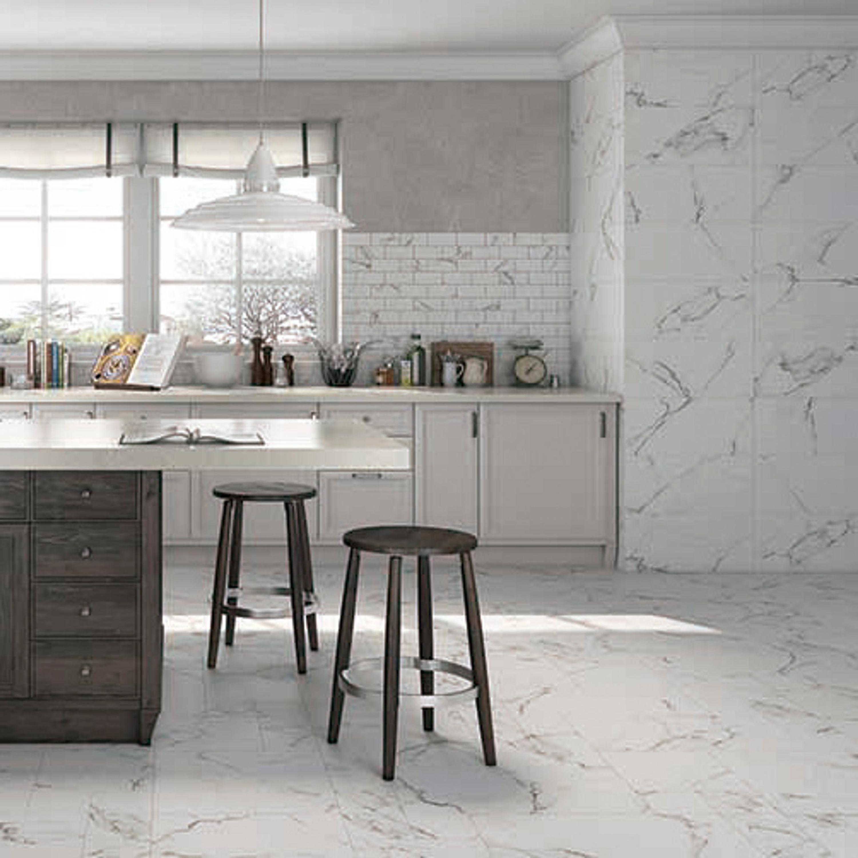 Wandfliese Marmoroptik Calacatta weiß marmoriert matt 30 x 60 cm  – Bild 5