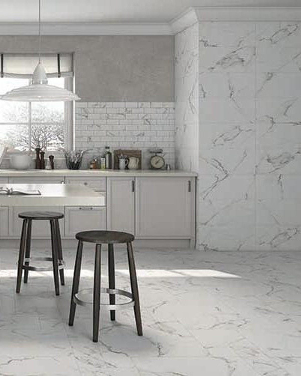 Wall Tile Marble Look Calacatta White marbled Dull 30 x 60 cm