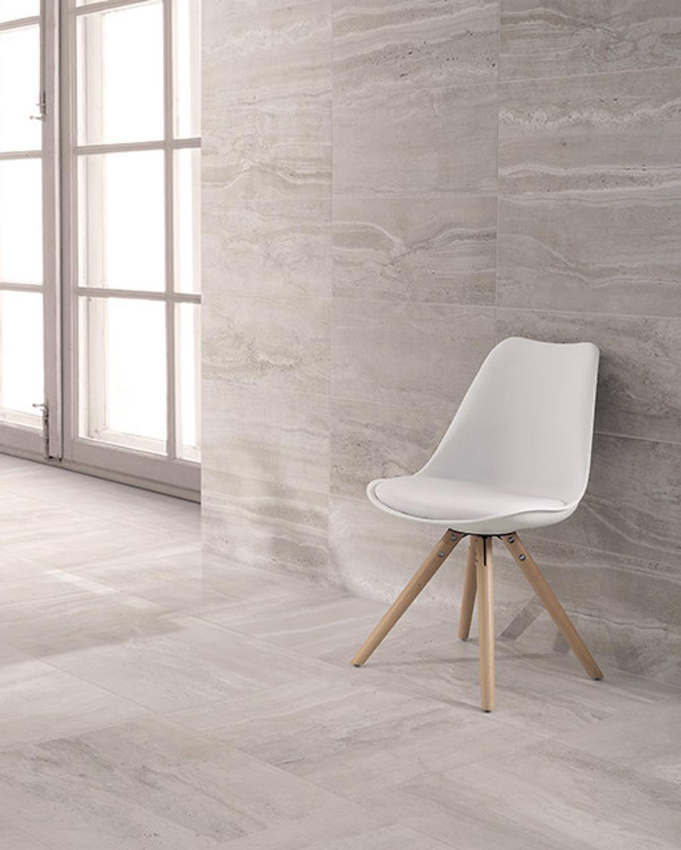 Floor Tile / Wall Tile Natural Stone Optical Porcelain Stoneware Reverso Grigio 45x90 rectified