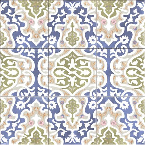 """Orientalische Bodenfliese """"Arabische"""" Bodenfliese Tawriq Blue Natural 59,2 x 59,2 cm"""