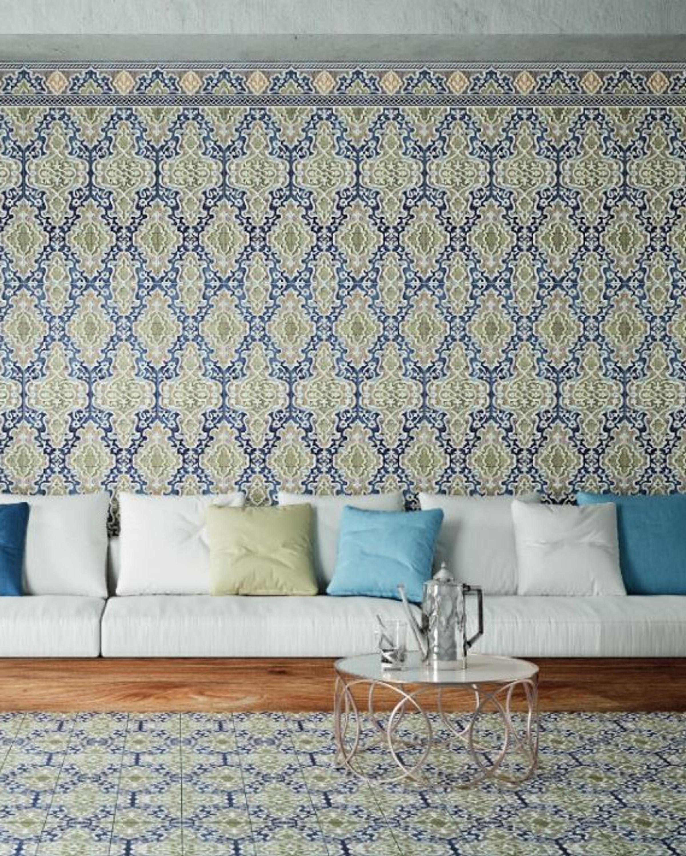 """Orientalische Wandfliese """"Arabische"""" Wandfliese Tawriq Blue Zaida 29,75 x 99,55 cm  – Bild 1"""