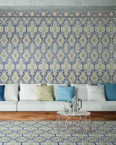 """Orientalische Wandfliese """"Arabische"""" Wandfliese Tawriq Blue Zaida 29,75 x 99,55 cm"""