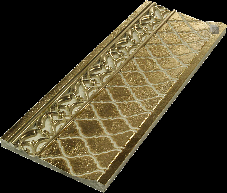 """Orientalische Sockelfliese """"Arabische"""" Sockelfliese gold Tawriq Zocalo 11 x 29,75 cm  – Bild 2"""