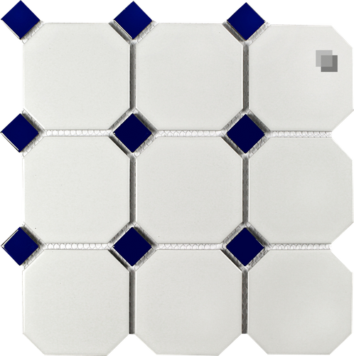 Octagon Mosaic white dull with blue Inlays 9,5x9,5 cm