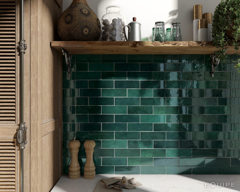 Wall Tile Artisan Moss Green Equipe Retro Tile 6 5x20 Cm