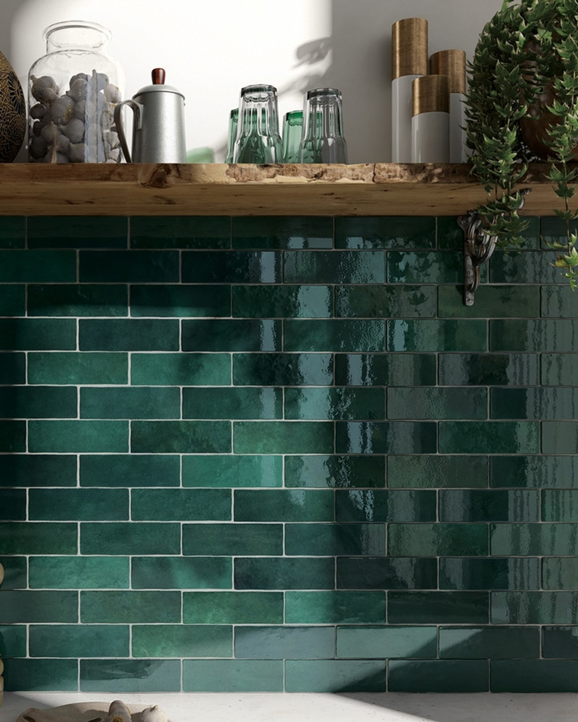 Wall Tile Artisan Moss Green Equipe Retro Tile 6,5x20 Cm