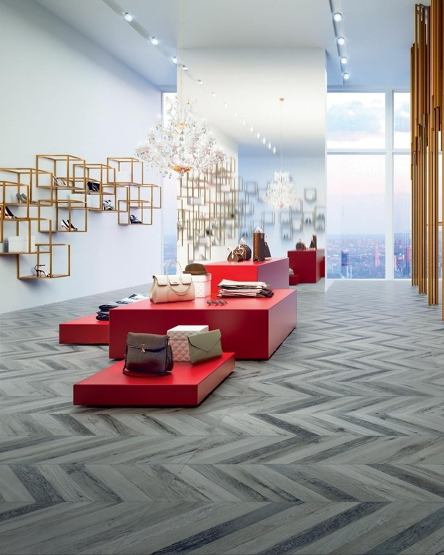 Floor Tile Wood Optic Chevron Gris R 37,5x150 cm