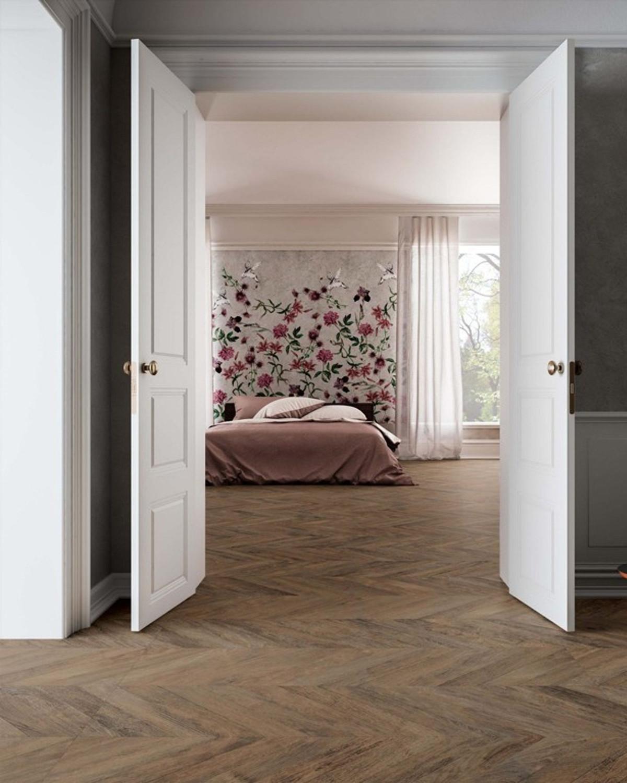 Floor Tile Wood Optic Chevron Foncé R 37,5x150 cm