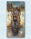 "GILDE GALLERY - Metallkunst in 3D-Optik ""MOTORCYCLE"" 140 x 70 cm - NEU !! 001"