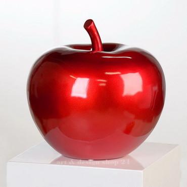 APPLE METALLIC RED Skulptur Ø 28cm DekoArt
