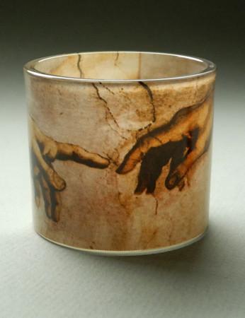 "MUSEUMS TEELICHTGLAS - ""Michelangelo - Erschaffung Adams"" - Teelichthalter NEU!"