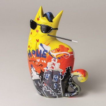 "SELWYN SENATORI - Senatori Town Collection Skulptur ""Big City Cat Yellow ZATTI""  – Bild 1"
