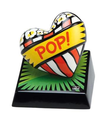 "BURTON MORRIS - POP ART  ""Love Pop! Green - Skulptur"" poppige Porzellan Skulptur"