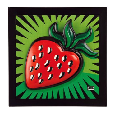 "BURTON MORRIS - POP ART - ""Strawberry - Reliefbild"" Porcelaine Tableau - Picture"