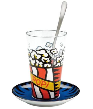"BURTON MORRIS - POP ART - ""Pop! - Red"" Latte Macchiato Set mit Edelstahllöffel"