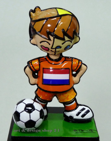 "ROMERO BRITTO - POP ART KUNST aus Miami -""WM 2014""- Britto Holland Soccer Figur"